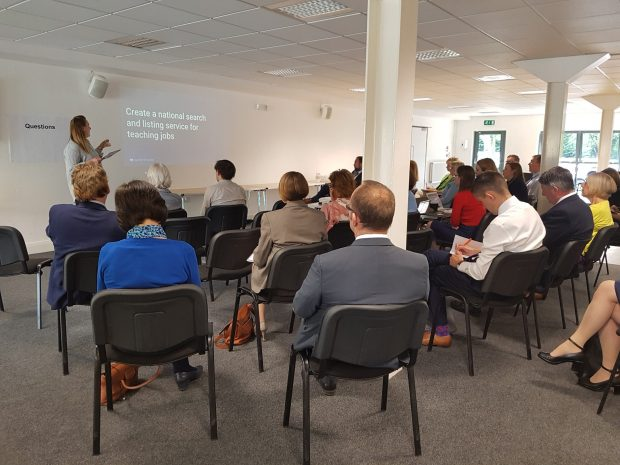 Fiona Murray presenting the project to a room of people