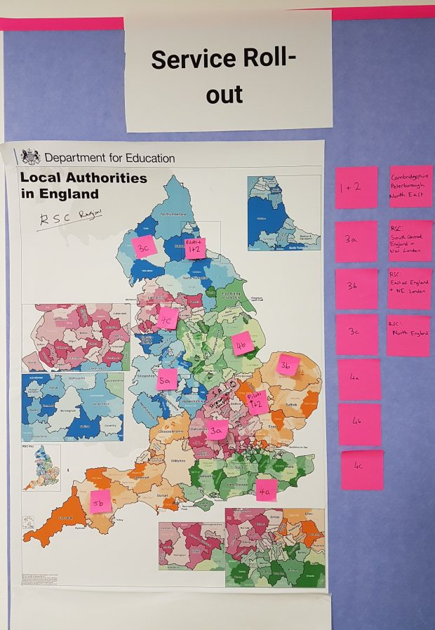 Map of the UK with colour coded regions showing the roll out fo the Teaching Vacancies service. The text on the map is illegible.