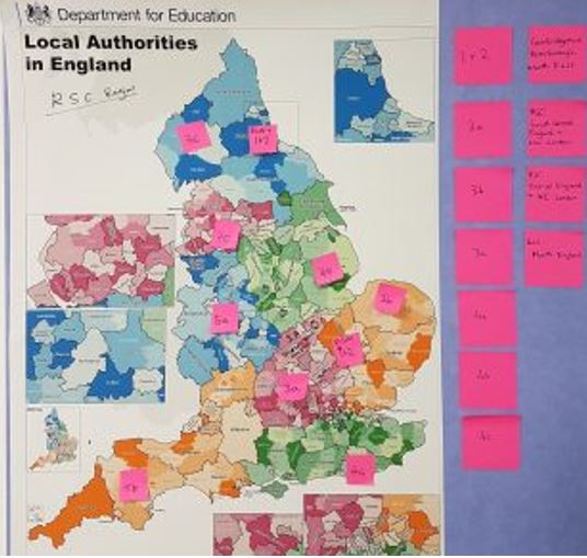 Coloured map showing the service roll out of the Teaching Vacancy Services across Englands Local Authorities