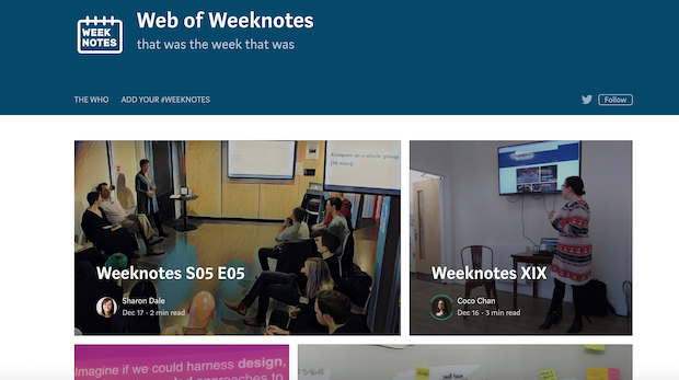 "Screenshot of weeknotes site reading ""Web of Weeknotes, that was the week that was"" with links to weeknotes"