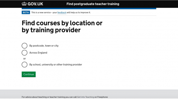 "A screenshot of GOV.UK Find oistraduate teacher training service, saying ""Find Courses by location or training provider: by postcode, town or city, across England, or by school, university or other training provider"" A button is marked ""continue"""