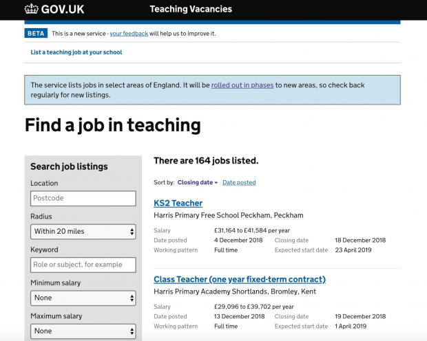 A screenshot of the teaching vacancies service, showing two jobs listed, and search fields