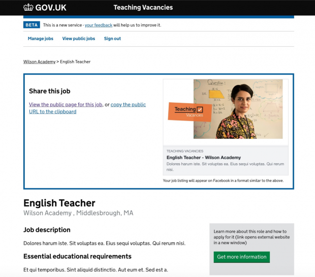 "A screen shot of the teacher vacancies service where the user can publish a vacancy. An example English Teacher vacancy in Middlesborough is shown with latin text underneath the headings ""job description"" and ""essential educational requirements"""
