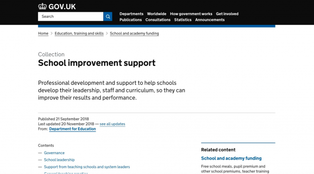 A screenshot of the School Improvement Support guidance page