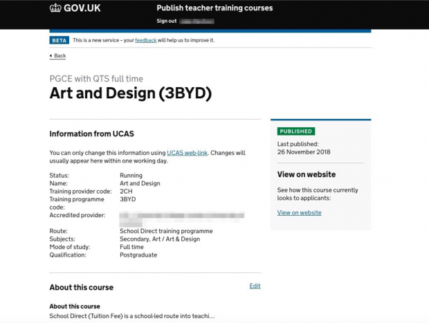 Screenshot of the Publish Teacher Training Courses service with details of an Art and Design (3BYD) course. Information from UCAS is listed about the course, including status (running), name (Art and Design),