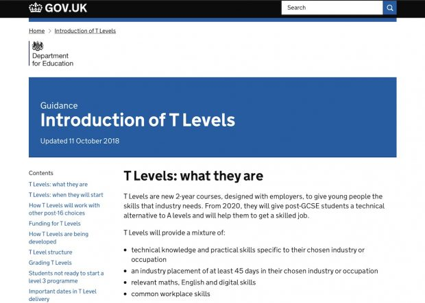 "Screenshot of introduction to T Levels guidance. The screenshot reads ""T Levels: what they are. T Levels are new 2-year courses, designed with employers, to give young people the skills that industry needs. From 2020, they will give post-GCSE students a technical alternative to A levels and will help them to get a skilled job.  T Levels will provide a mixture of:  technical knowledge and practical skills specific to their chosen industry or occupation an industry placement of at least 45 days in their chosen industry or occupation relevant maths, English and digital skills common workplace skills"