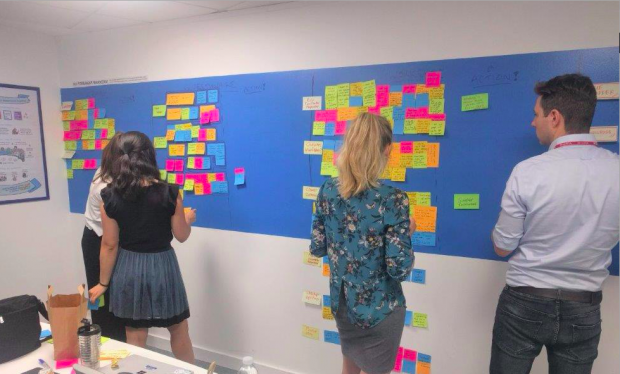 People in a room discussing content on an 'agile' wall
