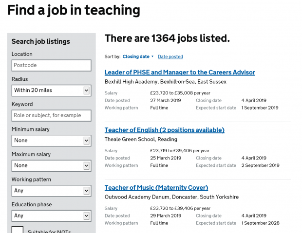 A screenshot from the 'Teaching Vacancies' service on GOV.UK