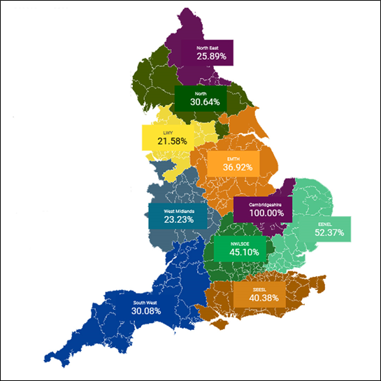 The map shows the percentage of schools that have signed up to use the service