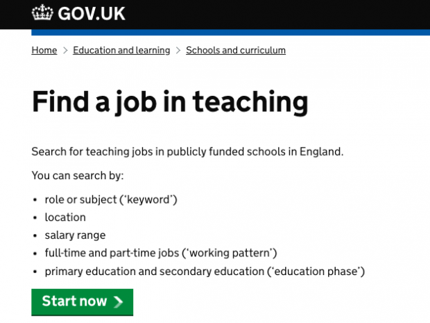 A screengrab from the 'Find a job in teaching' servvice