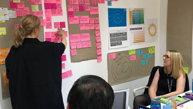 three members of a team looking at an agile wall filled with colourful posters and post-it notes