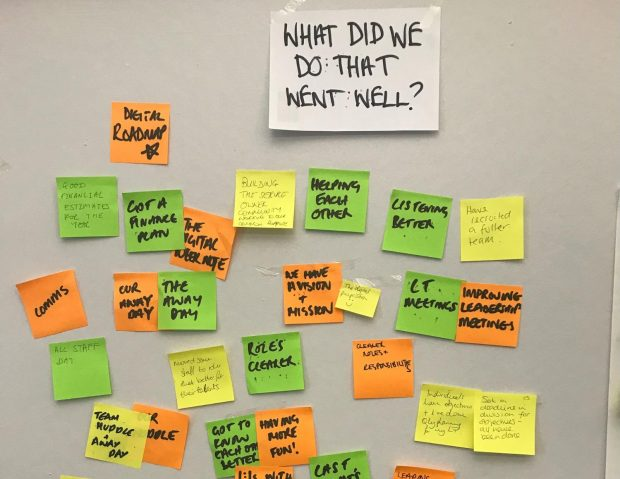 Wall with post-its on grouped under the heading, 'What did we do that went well?'