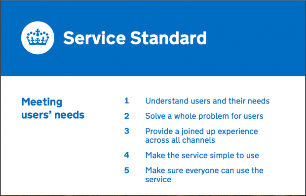 Poster saying: Service Standard, Meeting users' needs: 1. Understand users and their needs, 2. Solve a whole problem for users, 3. Provide a joined up experience for across all channels, 4. Make the service simple to use, 5. Make sure everyone can use the service""