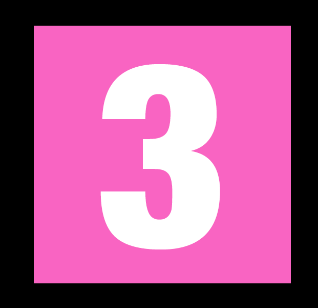 Graphic of a white number three in a square pink box