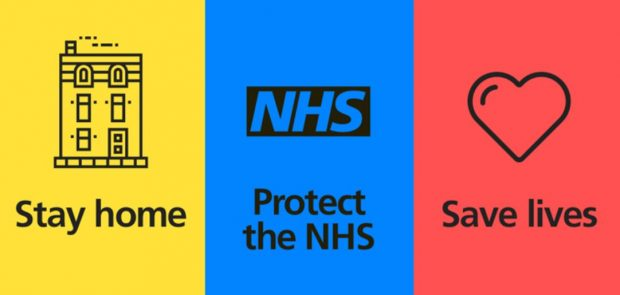 An image separated into 3 with the message 'stay home, protect the NHS, save lives'