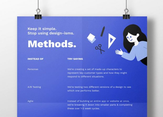 Image of a blue poster reading 'keep it simple. stop using design-isms. Methods. Instead of personas try saying we're creating a set of made-up characters to represent key customer types and how they might respond to different situations. Instead of A/B testing try saying we're testing two different versions of a design to see which one performs better. Instead of agile try saying instead of building an entire app or website at once, we're breaking it down into smaller parts and completing these over 1-2 week cycles.