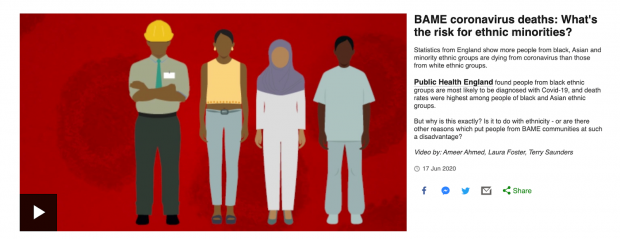 An article with an animated video of 4 people of colour. Text reads 'BAME coronavirus deaths: What's the risk for ethnic minorities? Statistics from England show more people from black, Asian and minority ethnic groups are dying from coronavirus than those from with ethnic groups. Public Health England found people from black ethnic groups most likely to be diagnosed with Covid-19, and death rates were highest among people of black and Asian ethnic groups. But why is this exactly? Is it to do with ethnicity – or are there other reasons which put people from BAME communities at such a disadvantage? Video by: Ameer Ahmed, Laura Foster, Terry Saunders'