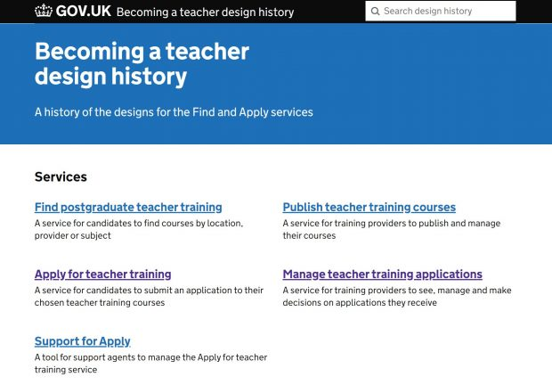 'Becoming a teacher' design history homepage on GOV.UK.