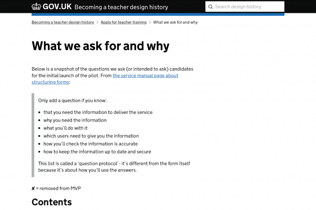The 'what we ask for and why' page on the GOV.UK 'Becoming a teacher' design history for the 'Apply for teacher training' service.