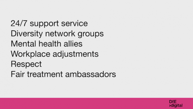 List of support and services we offer to our employees to support their wellbeing