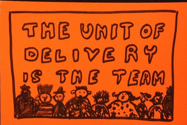 A black drawing on an orange background. Image reads 'The unit of delivery is the team' with some illustrations of people underneath.