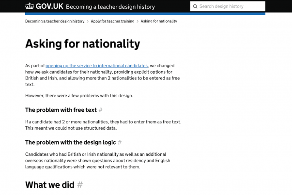 The GOV.UK 'asking for nationality' page on the 'Apply for teaching' design history.