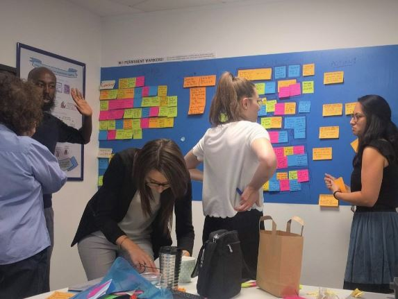 members of a team stood around a colourful agile wall with lots of post-its on it