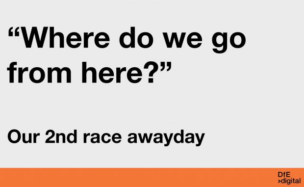 Slide that reads 'where do we go from here?' our 2nd race awayday