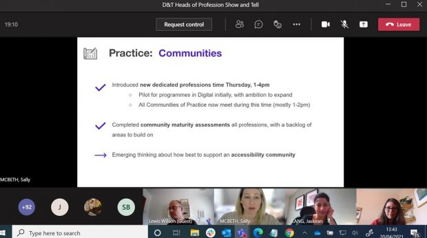 4 people on a video call looking at a slide about communities of practice