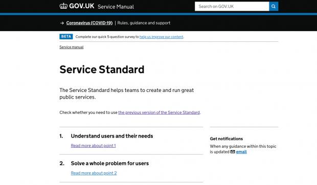Service Standard home page on GOV.Uk