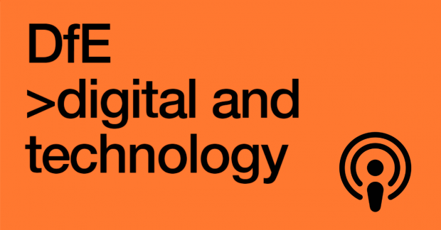 Digital and Technology logo with a podcast icon